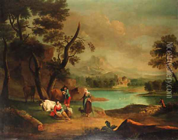A drover with cattle and a traveller resting in a river landscape Oil Painting - Jan Van Der Bent