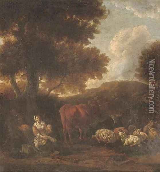 A wooded landscape with herdsmen and cattle resting Oil Painting - Jan Van Der Bent