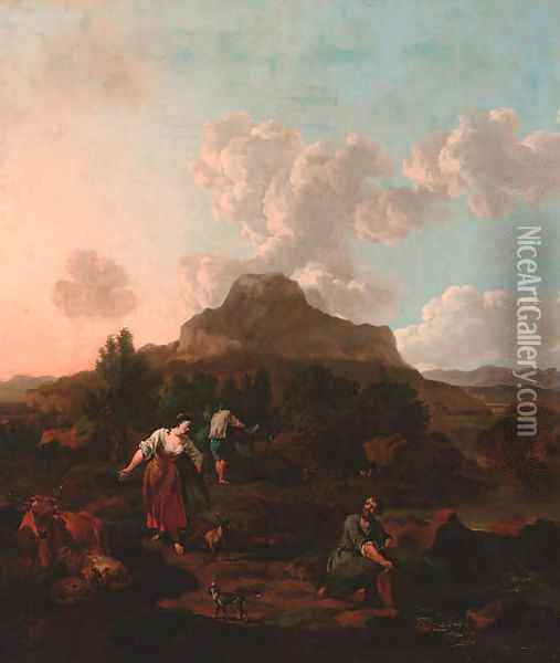 A rocky Italianate landscape with harvesters, cattle, and a dog by a stream Oil Painting - Jan Van Der Bent