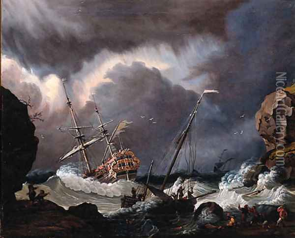A Calm A Dutch Stateyacht Firing A Salute At The Entrance Of A Harbour Oil Painting - Ludolf Backhuyzen