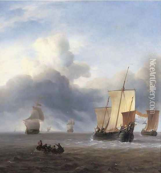 Shipping in calm waters Oil Painting - Ludolf Backhuyzen
