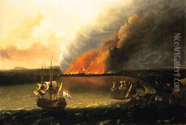 Dutch Men-of-War pursuing a British Man-of-War, a town burning beyond, possibly the Dutch raid on Chatham in 1667 Oil Painting - Ludolf Backhuyzen