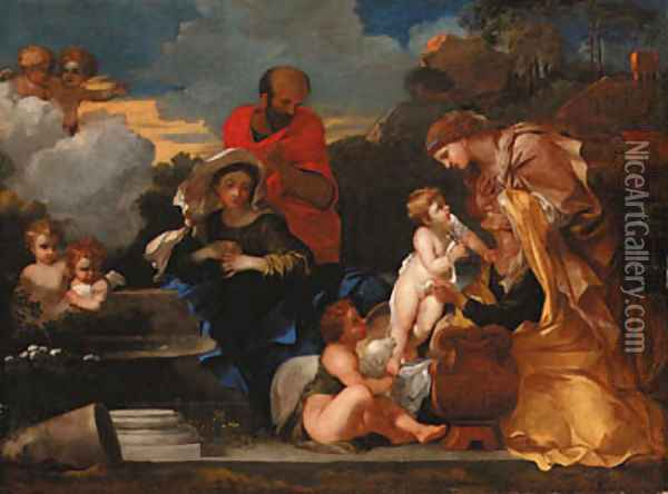 The Holy Family with the infant Saint John the Baptist and Saints Anne and Elizabeth Oil Painting - Sebastien Bourdon
