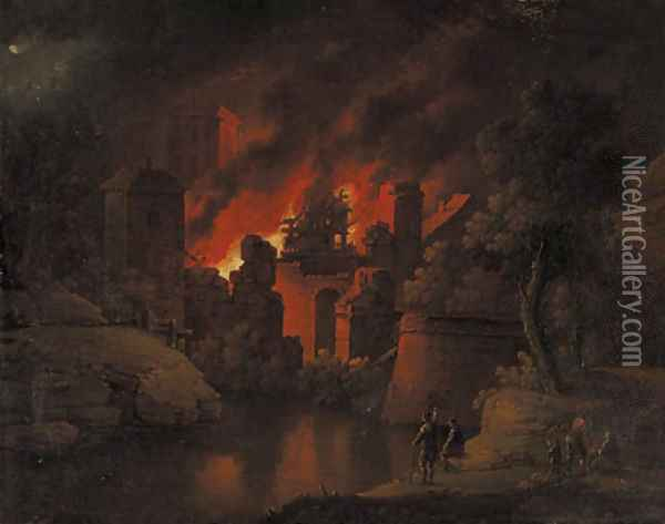 A town on fire at night with onlookers Oil Painting - Christoph Van Bemmel