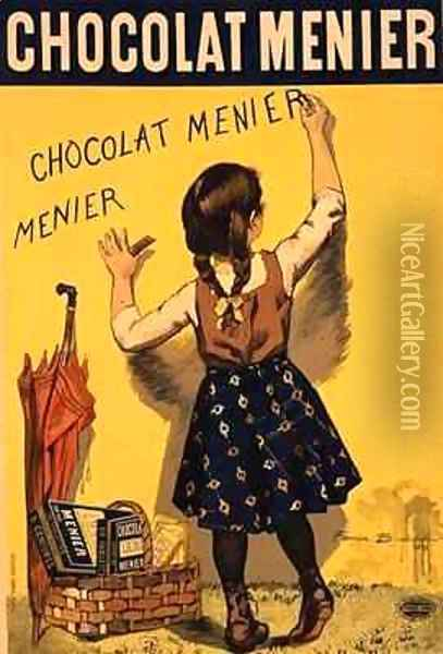 Reproduction of a poster advertising 'Menier' chocolate Oil Painting - Firmin Bouisset