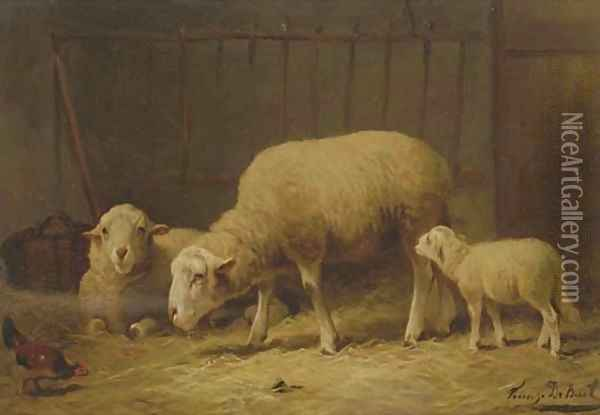 Sheep in a stable Oil Painting - Frans De Beul