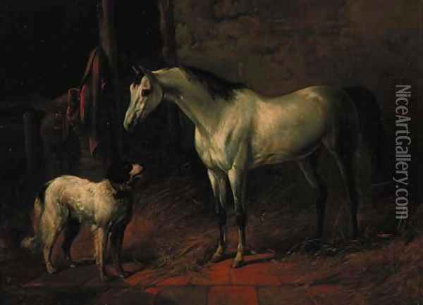 A grey hunter with a dog in a stable Oil Painting - Karl Frederik Bombled