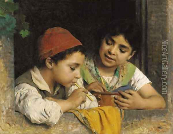 Blowing bubbles Oil Painting - Luigi Becchi