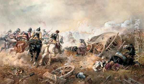 War - The attack on the baggage train at the battle of Edgehill Oil Painting - Richard Beavis