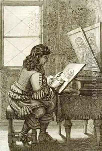 An artist copying onto an engraving plate Oil Painting - Abraham Bosse