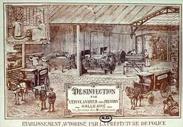 Poster advertising Machinery for Disinfection by Steam produced by Hallu Aine, end nineteenth century Oil Painting - Bourdelin, Emile