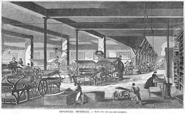 The printing presses room of the Imperial Printing Works Oil Painting - Bourdelin, Emile