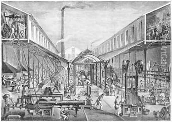 Great industries, workshops of construction, sawmill and machine tools at the Arbey Company Oil Painting - Bourdelin, Emile
