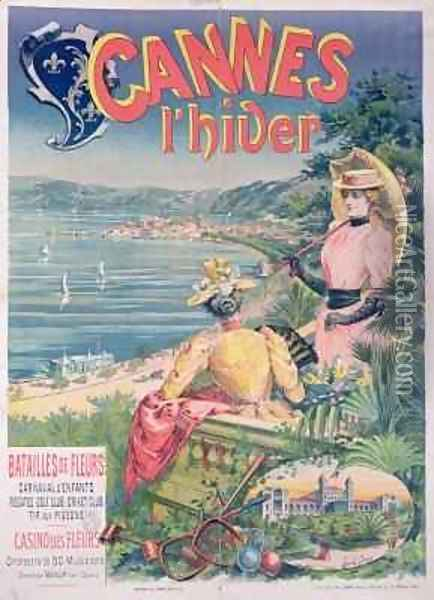 Poster advertising the Casino des Fleurs, Cannes in Winter Oil Painting - Brun, Emmanuel