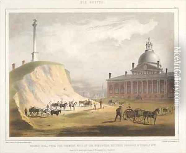 Old Boston Plate V Beacon Hill from the present site of the Reservoir Oil Painting - Bufford, John Henry
