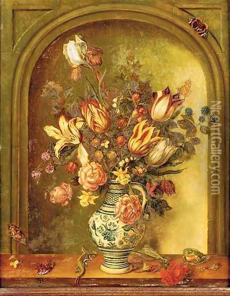 Tulips, roses, lilies and other flowers with blackberries and gooseberries in a porcelain vase Oil Painting - Johannes Baers