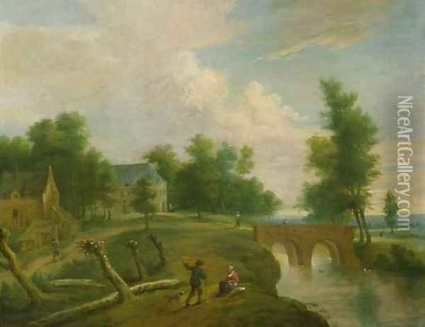 A traveller conversing with a peasant woman on a riverbank by a footbridge, farmhouses beyond Oil Painting - Marc Baets