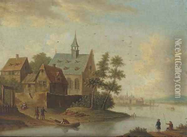 A river landscape with a village and anglers Oil Painting - Marc Baets