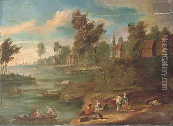 A river landscape with figures at rest on the river bank, a town beyond Oil Painting - Marc Baets