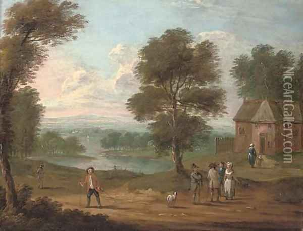 A river landscape with figures on a track, a cottage beyond Oil Painting - Marc Baets