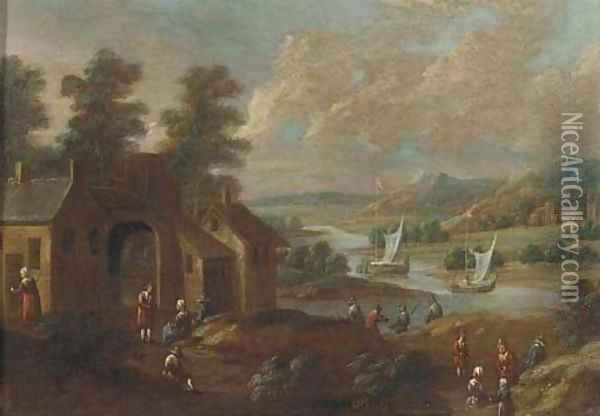 An extensive river landscape with figures by a village Oil Painting - Marc Baets