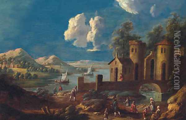 A river landscape with peasants on a track before a bridge and tower, fishing boats beyond Oil Painting - Marc Baets
