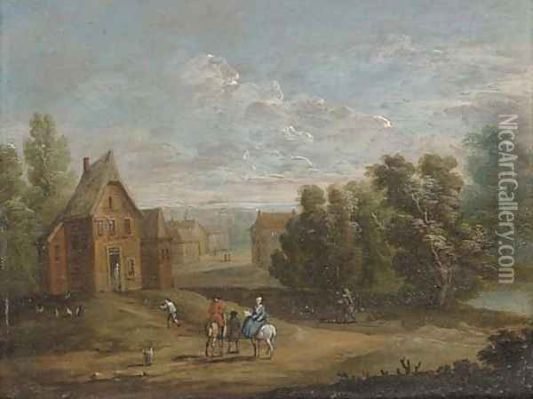 A wooded river landscape with figures on horseback by a village; and A wooded river landscape with anglers on a river bank Oil Painting - Marc Baets