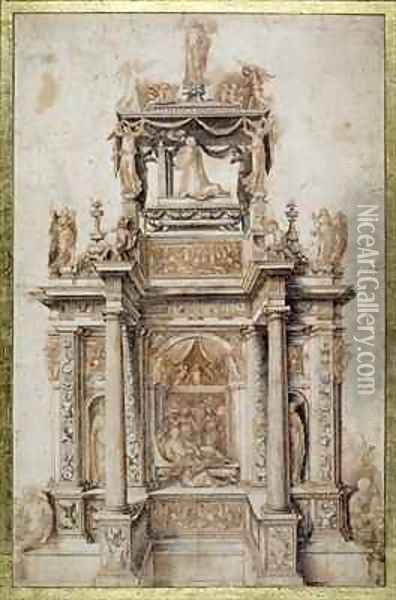 Design for a Funerary Monument for Gaston de Foix, Duke of Nemours 1489-1512 Oil Painting - Agostino, called il Bambaia Busti
