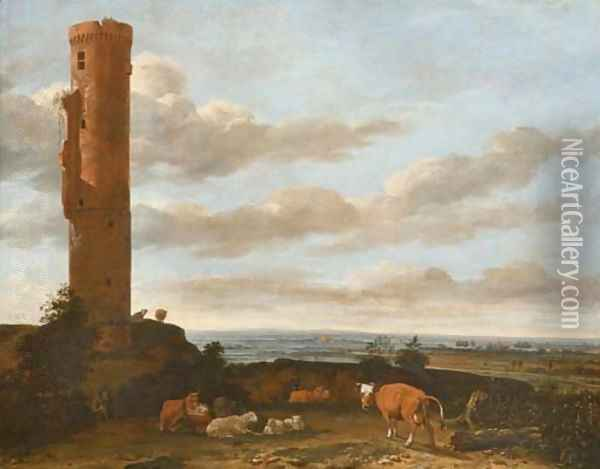 A shepherd with cattle and sheep by a tower in a panoramic landscape Oil Painting - Anthonie Van Borssom