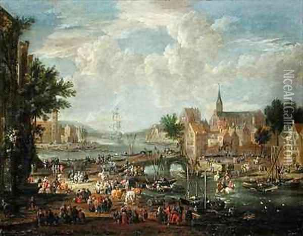 Townsfolk on the Riverbank Oil Painting - Boudewyns