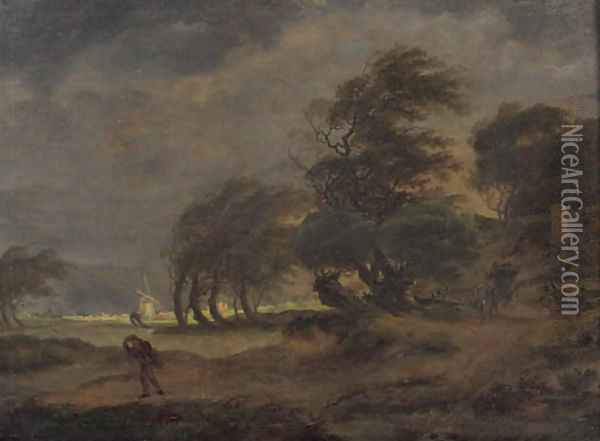 Peasants in a horse-drawn wagon on a country road with a traveller nearby, a windmill beyond, in a stormy landscape Oil Painting - Hermanus Van Brussel