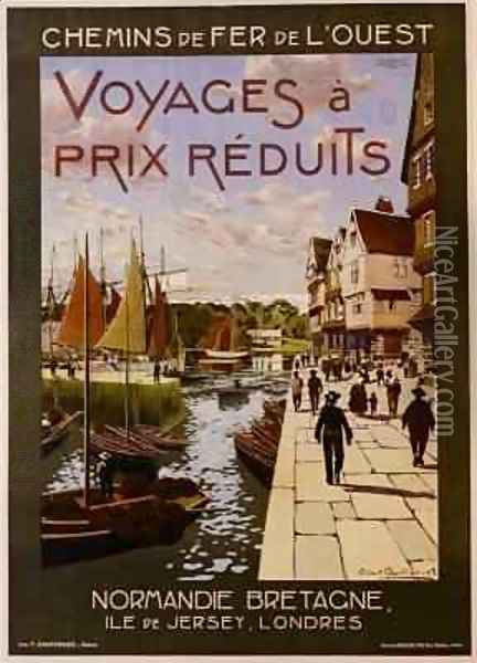 Poster advertising French rail routes to Normandy, Brittany, Jersey and London Oil Painting - Robert Boullier