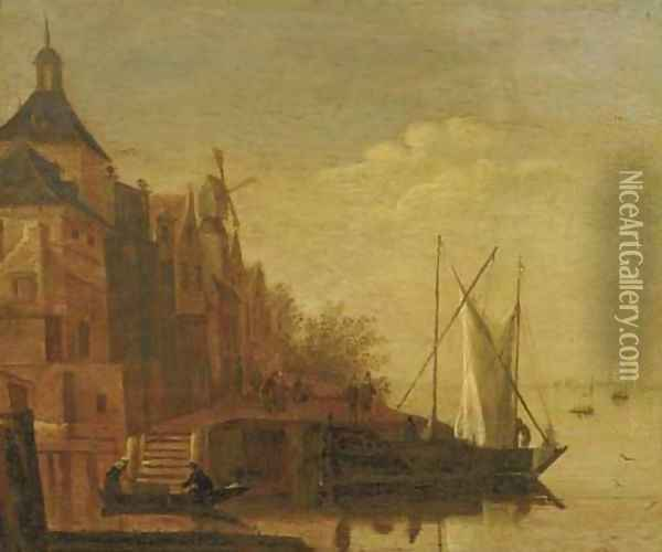 A river landscape with boats moored at a townside Oil Painting - Jacob Adriaensz. Bellevois