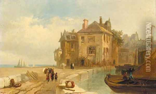 Figures carrying sacks on a French harbour wall; and Figures unloading a boat at low tide Oil Painting - Pierre Le Boeuff