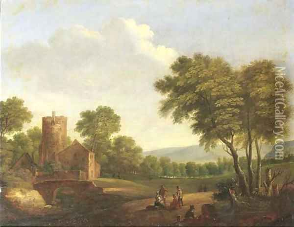 A wooded landscape with travellers resting by a tree Oil Painting - Pieter Bout