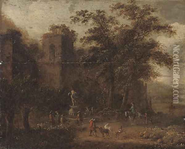 A wooded landscape with shepherds conversing by a fountain, classical ruins beyond Oil Painting - Pieter Bout