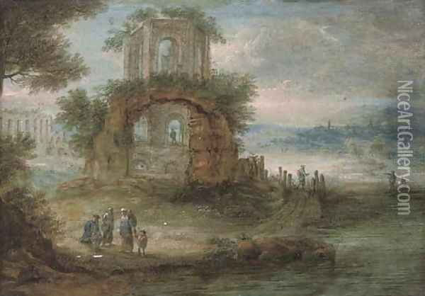 A wooded river landscape with travellers at rest by classical ruins Oil Painting - Pieter Bout