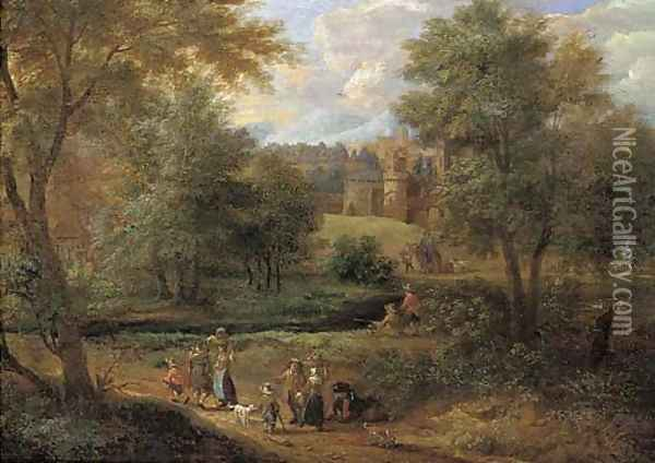 A Wooded River Landscape With Travellers On A Path And Anglers By A River, A Town Beyond Oil Painting - Pieter Bout