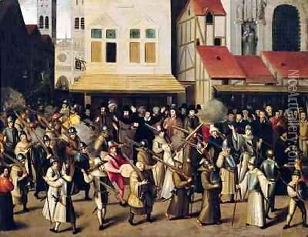 Procession of the Holy League in 1590 Oil Painting - Francois Bunel