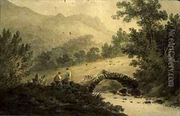 View near Halifax A Stone Bridge over a Stream Oil Painting - James Bourne