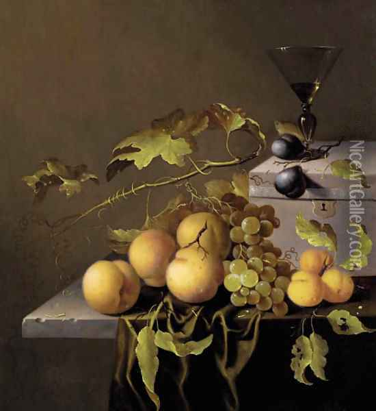 Peaches and grapes on the vine, with a goblet of wine on a casket, on a partially draped stone ledge Oil Painting - Johannes Borman