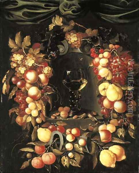 A roemer with walnuts and almonds in a niche surrounded by a garland of lemons Oil Painting - Johannes Borman