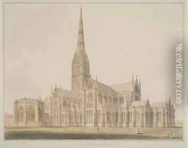 South East View of the Salisbury Cathedral and Chapter House Oil Painting - John Buckler