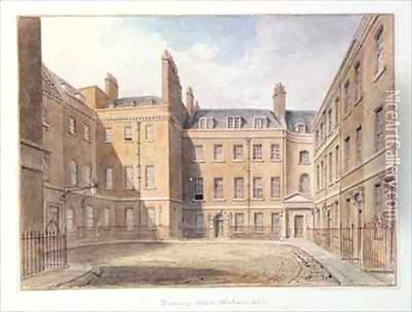 View of Downing Street, Westminster Oil Painting - John Buckler