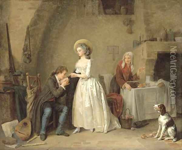 An amorous couple in an interior with an old woman preparing a meal Oil Painting - Louis-Marc-Antoine Bilcoq