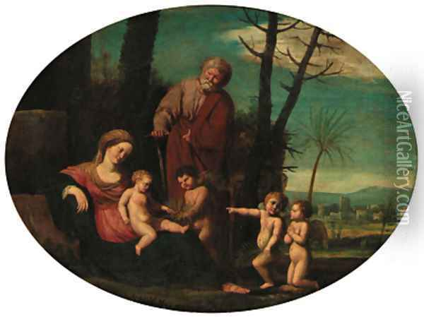 The Rest on the Flight into Egypt Oil Painting - Pietro Paolo Bonzi