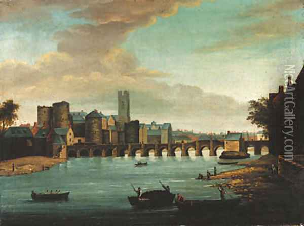 A view of Limerick with Old Thomond bridge, King John's castle and St. Mary's cathedral, with figures and boats in the foreground Oil Painting - Samuel Frederick Brocas