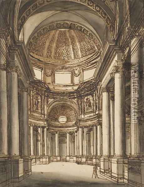 The interior of a church with a coffered dome Oil Painting - Giuseppe Barberi