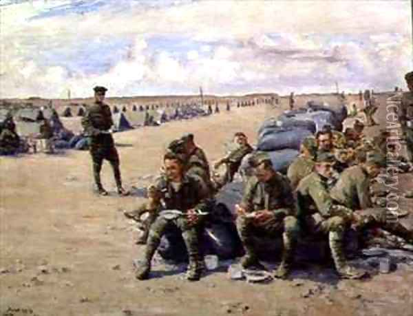 Lunch at Chatillon camp for the 8th Battalion Oil Painting - Joseph Felix Bouchor