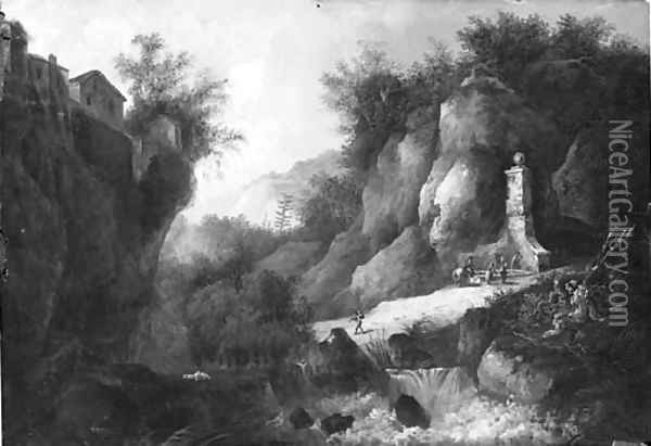 A stream in a rocky gorge with figures by a fountain Oil Painting - Louis Belanger